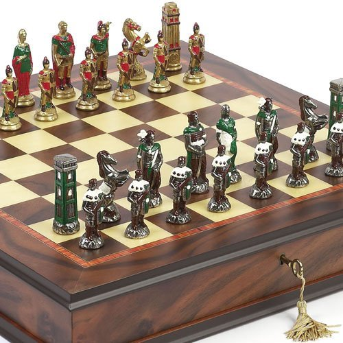 Bello Games Collezioni - Lorenzini Hand Painted Chessmen & Luxury Milano Cabinet Board from Italy