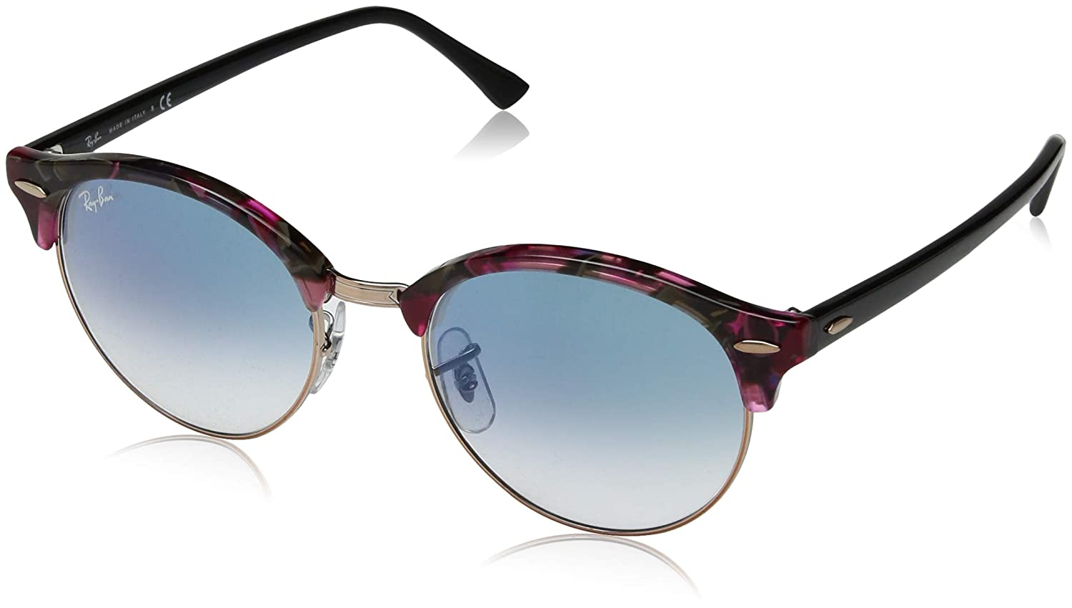 b03aff26ae29 Amazon.com: Ray-Ban Clubround Round Sunglasses, Spotted Grey/Violet, 53.8  mm: Clothing