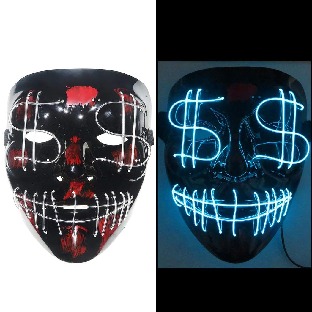 B bangcool LED Light Up Scary Mask, LED Mask Scary Face Fashion Alien Halloween Cosplay Light Up Mask for Kids & Adult
