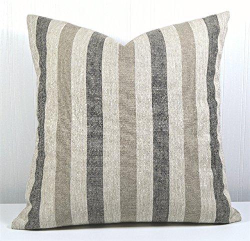 Farmhouse Slipcover (Pillow Cover 18x18 Farmhouse Linen Natural, Black and Tan Stripes)