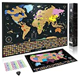 Scratch Off Map of The World + Premium Scratch Off USA Map, Accessories and Gift Packaging | Personalized Travel Map Poster with Outlined States, Flags and Beautiful Colours | Manufactured in the EU