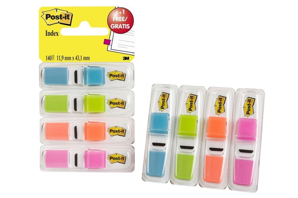 Post-it 683-4ABX Index Mini 11,9 x 43,2 mm, 4 x 35 Haftstreifen im Etui türkis, grün, Orange, Pink (1 Packung mit 4 Stück) grün 683-4ABXEU