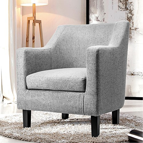 Harper & Bright Designs Fabric Accent Chair Contemporary Arm Chair with Solid Wood Legs (Gray)