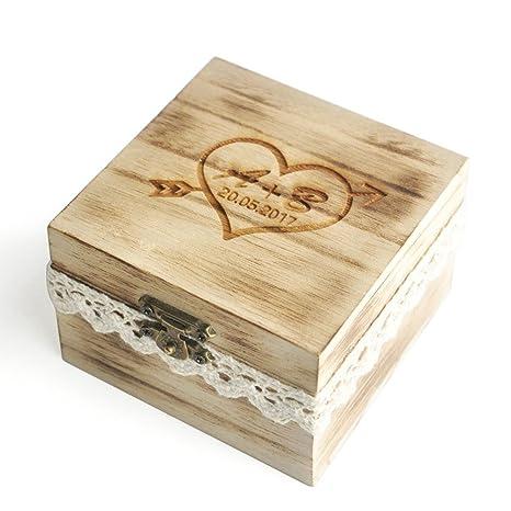 Custom anillo caja, caja de anillos de boda personalizada diseño rústico, anillo titular caja