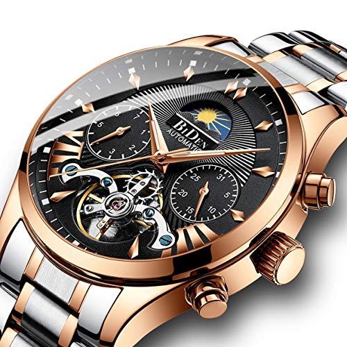 Watches, Men's Watch, Luxury Business Automatic Mechanical Skeleton Stainless Steel Calendar Flywheel Roman Numeral Moon Phase Waterproof Wrist Watch Gold Black