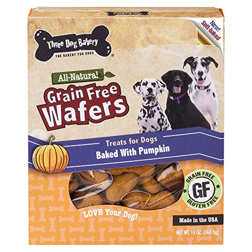 Three Dog Bakery Grain Free Wafers Baked Dog Treats, Pumpkin, 13 oz