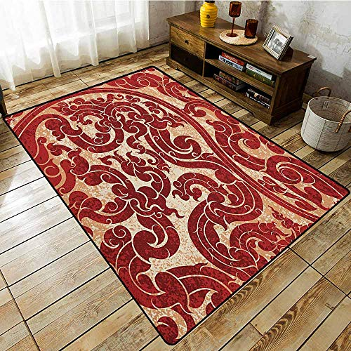 - Indoor/Outdoor Rug,Antique,Thai Culture Vector Abstract Background Flower Pattern Wallpaper Design Artwork Print,Anti-Static, Water-Repellent RugsRu