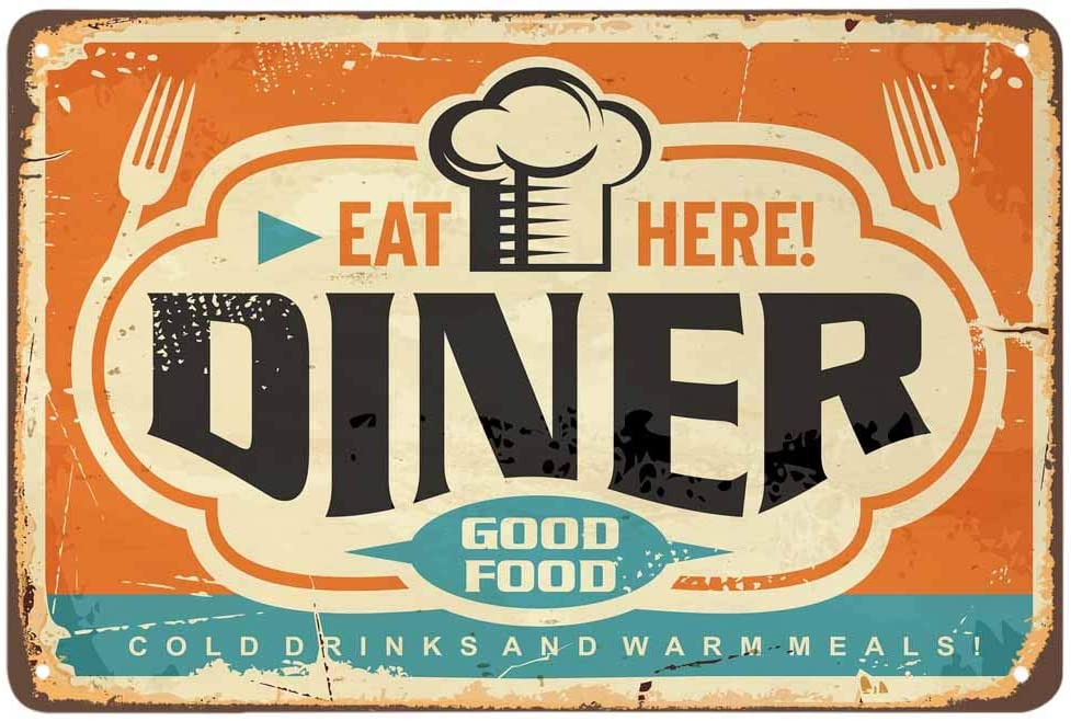 AOYEGO Diner Tin Sign,Rust Chef Hat Food Fork Striped Classic Cloud Curve Oval Stain Spotted Vintage Metal Tin Signs for Cafes Bars Pubs Shop Wall Decorative Funny Retro Signs for Men Women 8x12 Inch