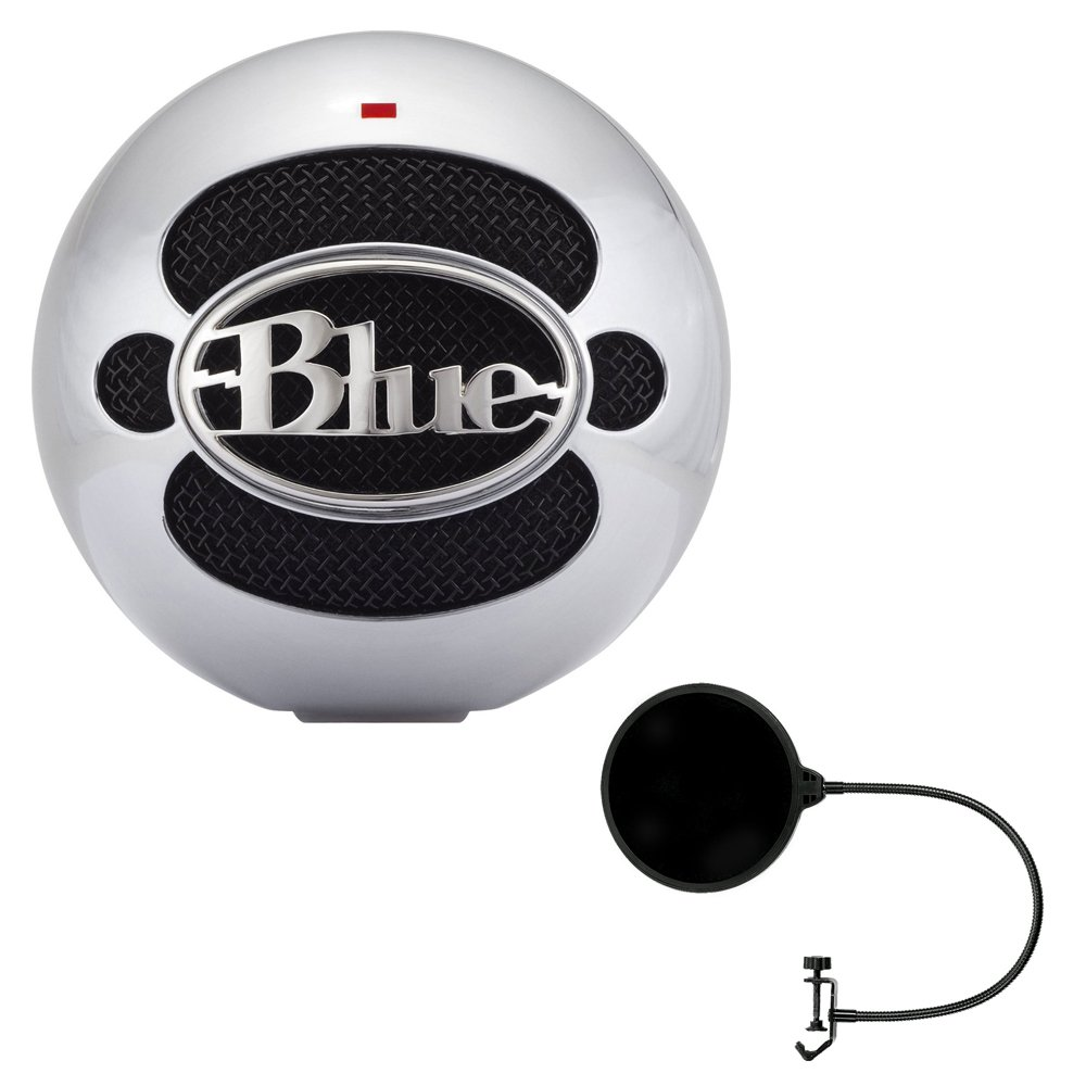 Blue Microphones Snowball USB Microphone - Alluminum (SNOWBALLALUMINUM) with Pop Shield Universal Pop Filter Microphone Wind Screen with Mic Stand Clip