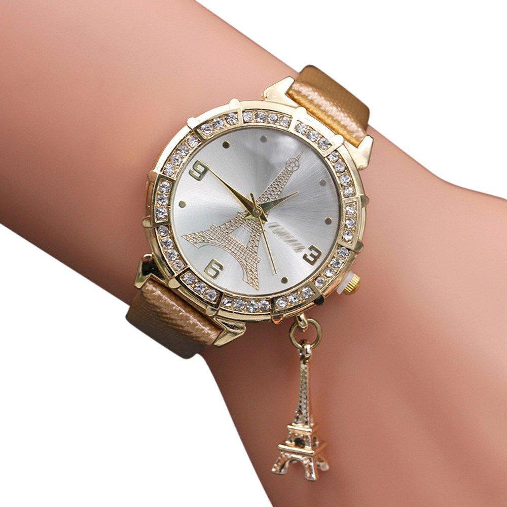 Zaidern Women Wrist Watch Womens Eiffel Tower Rhinestone Pendant Analog Quartz Classical Leather Watches Ladies Casual Simple Round Dial Leather Band Belt Wristwatch Luxury Dress Retro Watches Girls