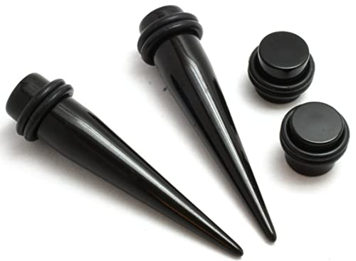 Amazon PAIR Of Black Tapers And Plugs Gauges Ear Stretching Kit 00g 1 2 9 16 5 8 3 4 7 Inch Jewelry