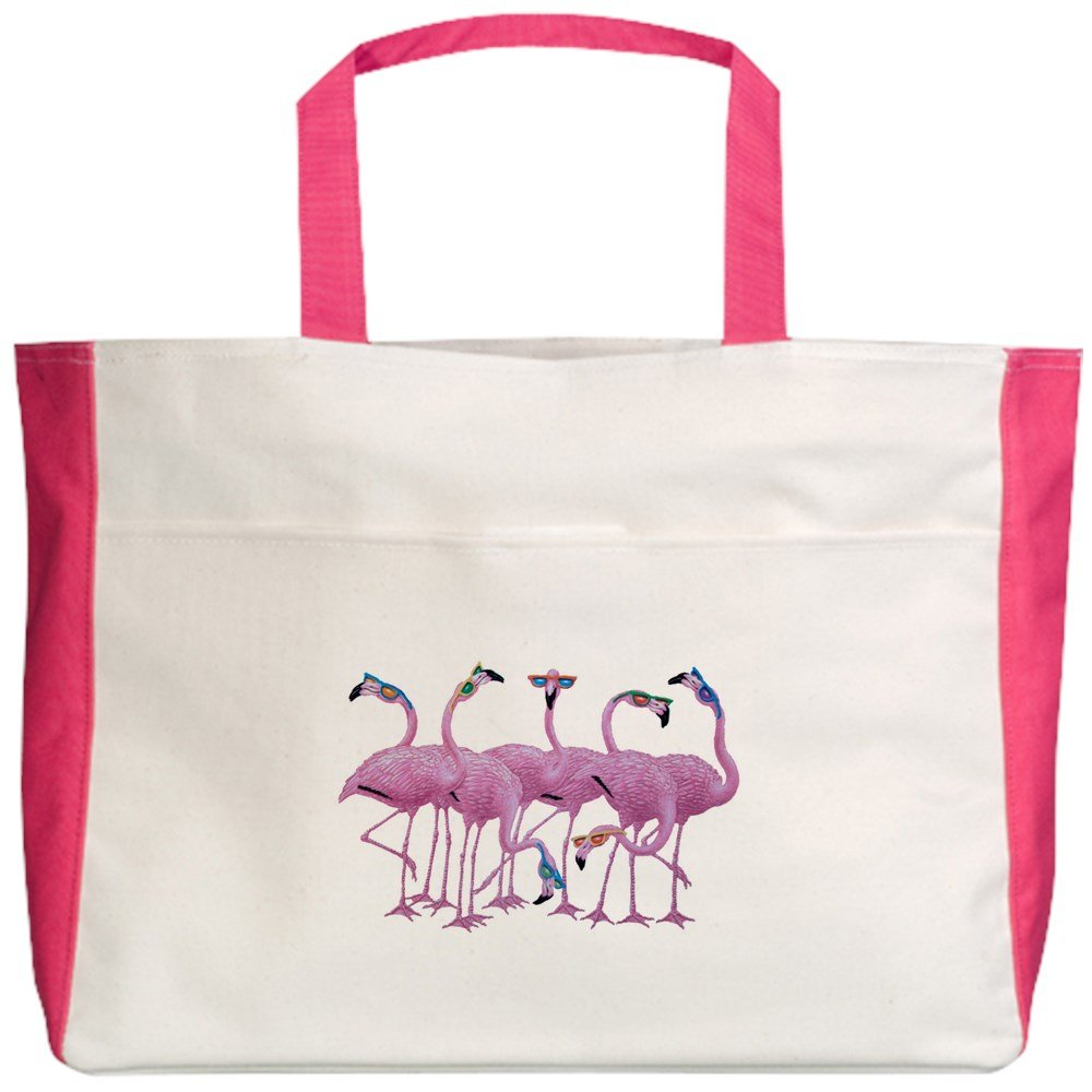 Royal Lion Beach Tote (2-Sided) Cool Flamingos with Sunglasses - Fuchsia by Royal Lion