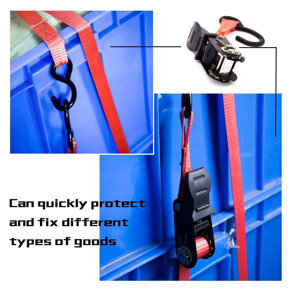 Motorcycle,1500lb Break Strength TBVECHI Ratchet Tie Down Straps Lawn Equipment 4 Pk with S-Hooks- 13Ft- 500 Lbs Load Cap- Cargo Straps for Moving Appliances