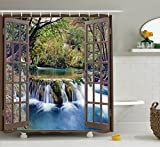 Ambesonne House Decor Shower Curtain Set, Wide Waterfall Deep Down in The Forest Seen from A City Window Epic Surreal Decorative Print, Bathroom Accessories, 84 Inches Extralong, Multi