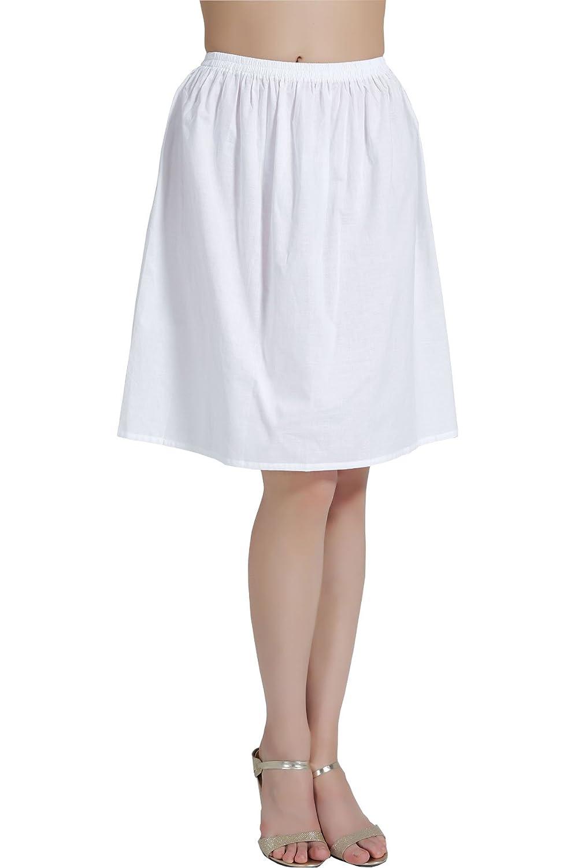 BEAUTELICATE Womens Half Slip 100/% Cotton Vintage Underskirt in 5 Lengths White Black Ivory
