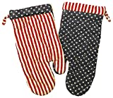 "Custom & Durable {14"" x 6.5"" Inch Each} 4 Set Pack of Mid Size ""Non-Slip"" Pot Holders Gloves Made of Cotton for Carrying Hot Dishes w/ Patriotic Stars & Stripes Style {Red, White, & Blue}"