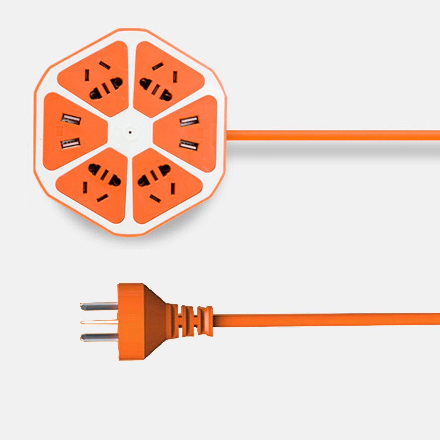 USB Power Strip Travel Charger Surge Protector Outlets 5ft 1.8m Long Cord with Universal Flat Plug Input from 100v-240v Power Sockets USB Charger Station 4 Port USB Charger Compact (Orange Yellow)