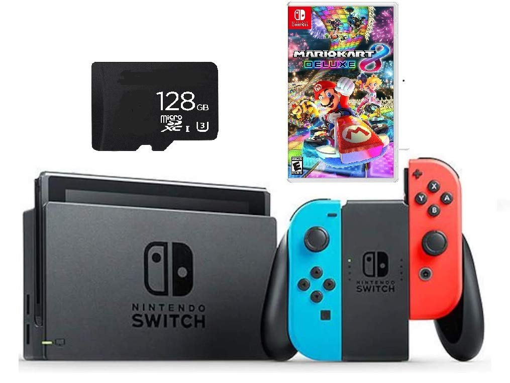Nintendo Switch Mario Kart 8 Deluxe Bundle: Nintendo Switch 32GB Console with Neon Blue and Red Joy-Con | Mario Kart 8 Deluxe |128GB SD Card |