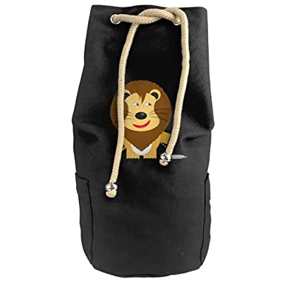 Very Happy Yellow LionDouble Shoulder Canvas Bucket Bag Gym Drawstring Backpack Bags