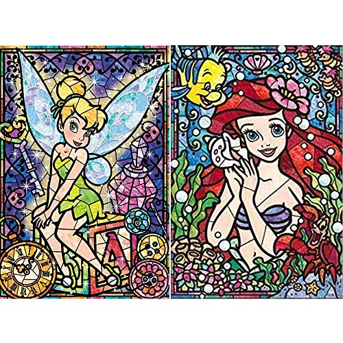 2 Pack DIY 5D Diamond Painting Kits, Crystal Rhinestone Diamond Embroidery Paintings Pictures Arts Craft for Home Wall Decor, Full Drill(Ariel & Tinkerbell, 12x16inch)