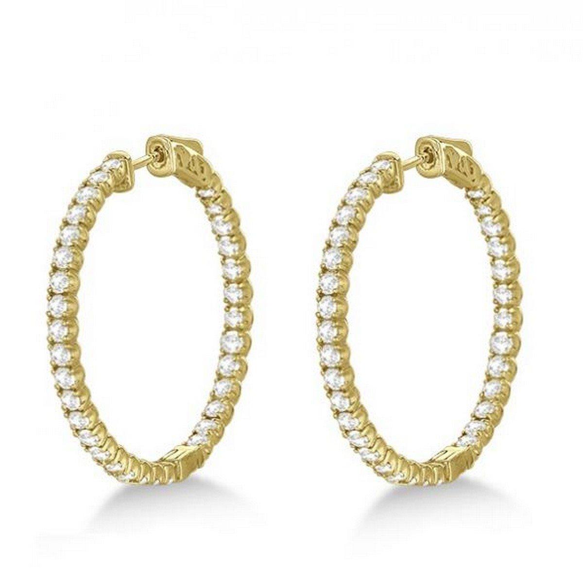 14k Gold Large Round Diamond Hoop Earrings 3.25ct