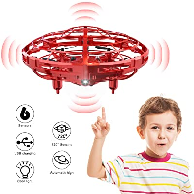 WEW Drones for Kids, 6 Magical Sensors Flying Toys Mini Drone, Hand Operated Drone Helicopter Induction, UFO Drone Gifts for Kids, Easy Indoor Toy Drone for Boys and Girls - Red: WEW: Toys & Games