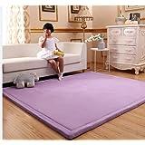 Living Room Non Skid Kids Play Mat, 3 Cm Coral Fleece Baby Crawling Carpet Tatami Children Sleeping Rug Toddler Floor Mat-purple 40x60cm(15.7x23.6inch)