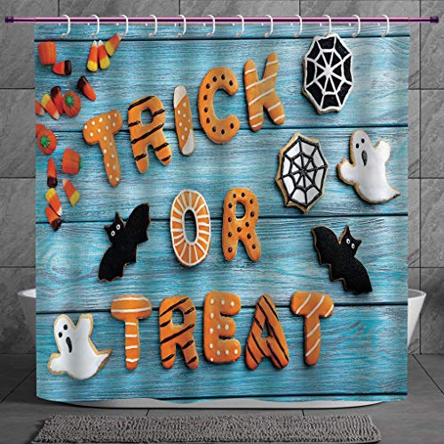 SCOCICI Decorative Shower Curtain 2.0 [ Vintage Halloween,Trick or Treat Cookie Wooden Table Ghost Bat Web Halloween,Blue Amber Multicolor ] Bathroom Accessories with Hooks