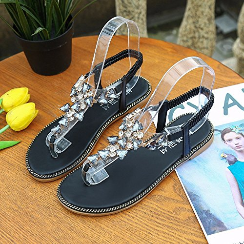 beach bottom Flat slip strap shoes and summer XIAOGEGE Silver sandals water clips new women elastic shoes seaside drilling anti faw5q5