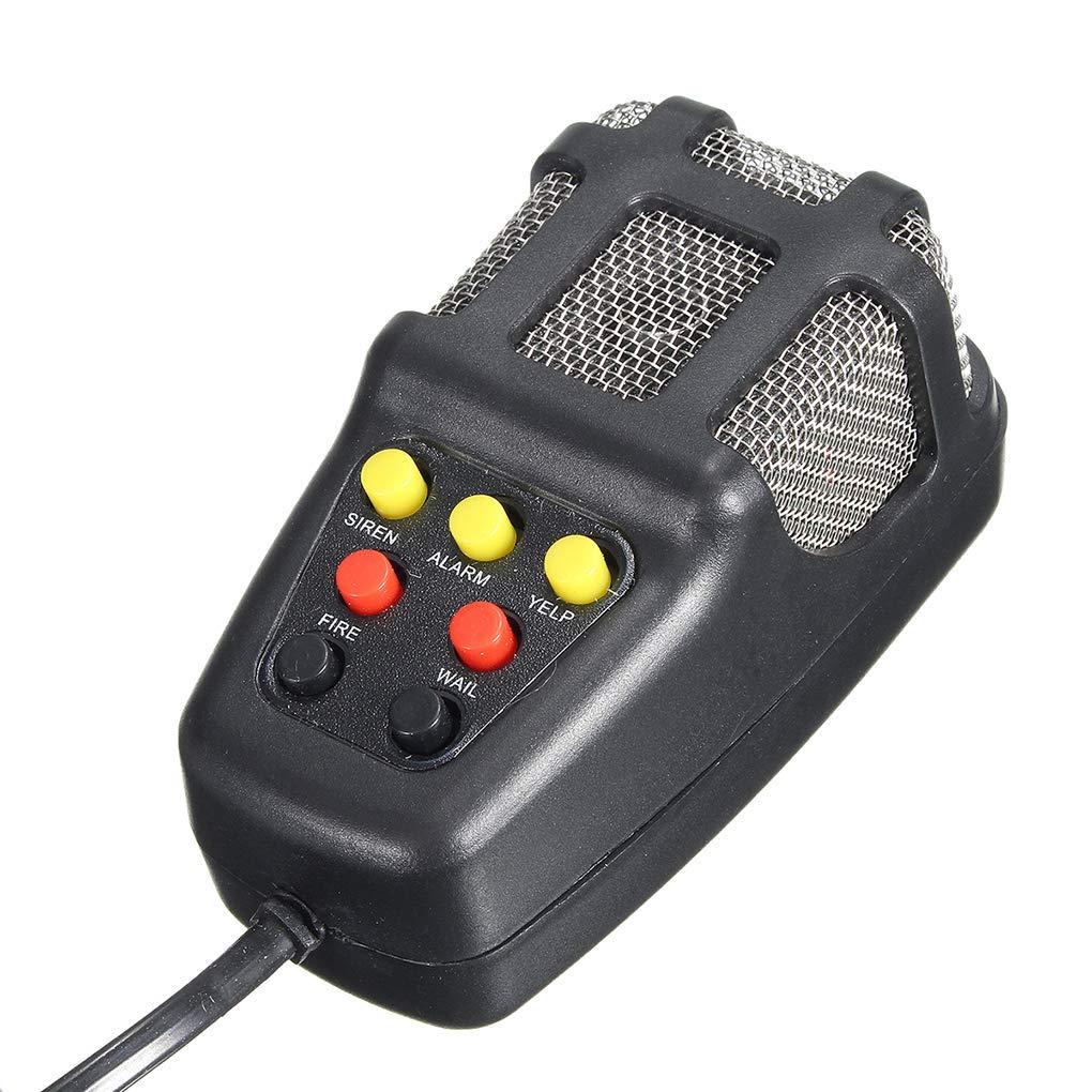 Uokoki 100W 12V 7 Sonidos del Altavoz del Coche cami/ón de Alarma de Advertencia Polic/ía Bomberos Sirena 105db Cuerno Fuerte Sonido con micr/ófono Mic