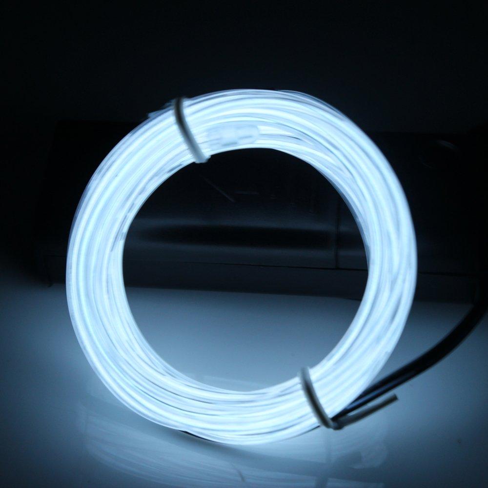 LED Leuchtet Tron Electroluminescent Lerway /® Wei/ß 5 M EL Wire Neon Kabel Kost/üm Konzert Rave,Nachtclubs LED Blinkend Mit Batterie Trafo Halloween Party Weihnachten