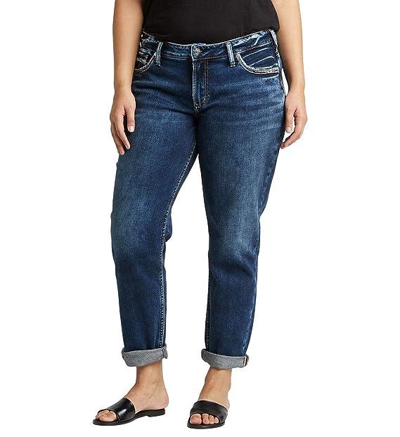 Silver Jeans Co. Womens Plus Size Mid-Rise Boyfriend Jeans