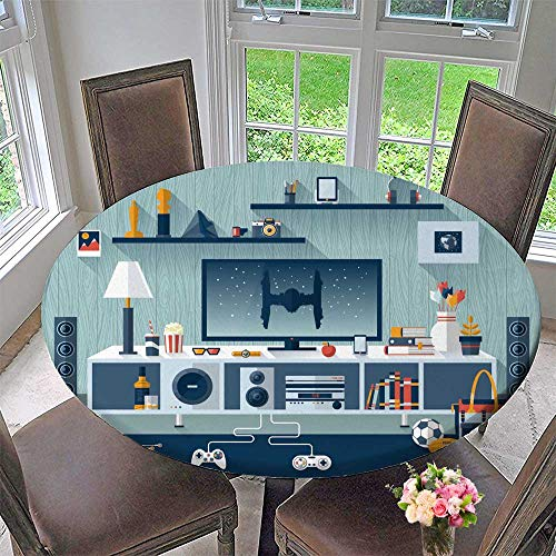 (PINAFORE HOME Round Tablecloth Vector Room workspace Workplace with tv for Kitchen 67