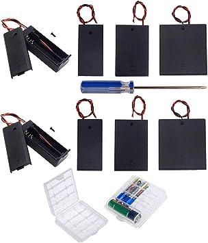 GTIWUNG 10Pcs AA 1.5V/3V/4.5V/6V batería Titular Caso Caja de Almacenamiento de la batería de plástico con Interruptor ON/Off, DIY AA Caja de Pila, Portapilas con Cables de Interruptor: Amazon.es: Electrónica