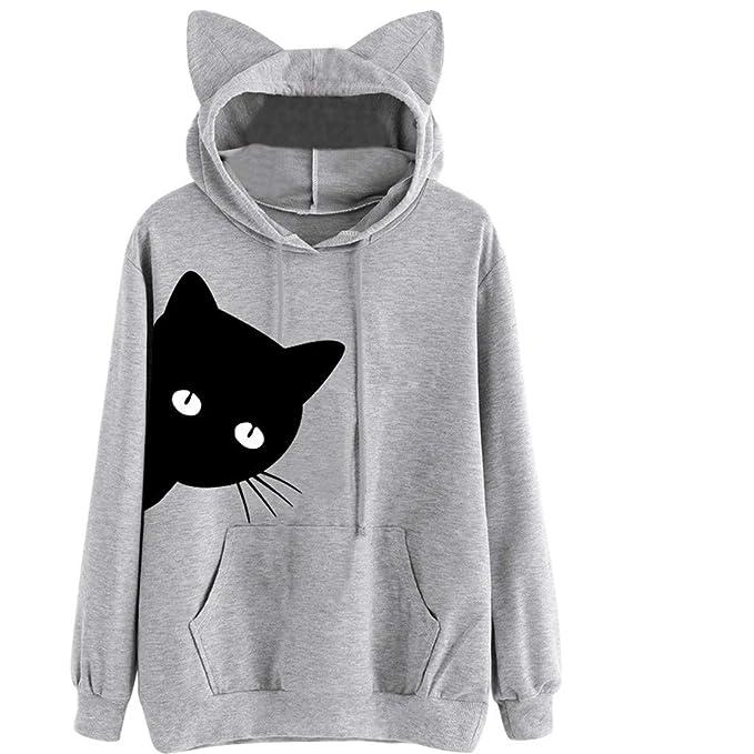 2ef885ea1e7 Camiseta De Manga Larga con Capucha Y para De Bastante Gatos Estampado  Mujer Tops Blusa Oreja