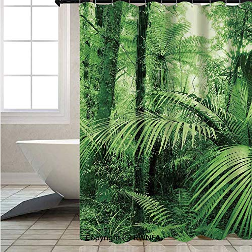- RWNFA Fashion Shower Curtain,Palm Trees and Exotic Plants in Tropical Jungle Wild Nature Zen Theme Illustration,W70.8xL72inch,Lush Decor,Colorful Bold Design,Green