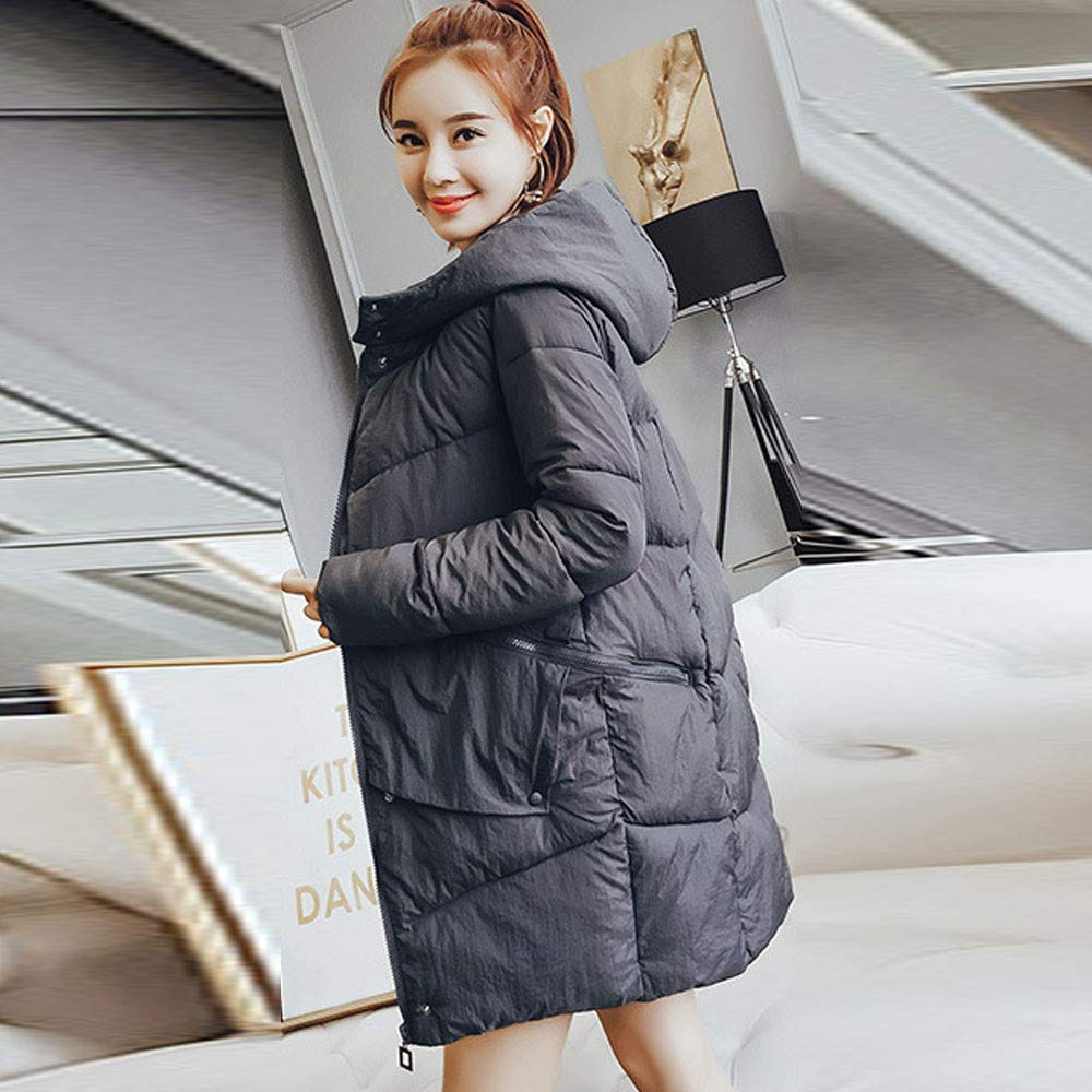 Ximandi Women Outerwear Fur Hooded Button Coat Long Cotton-Padded Jackets Pocket Coats Gray by Ximandi (Image #2)
