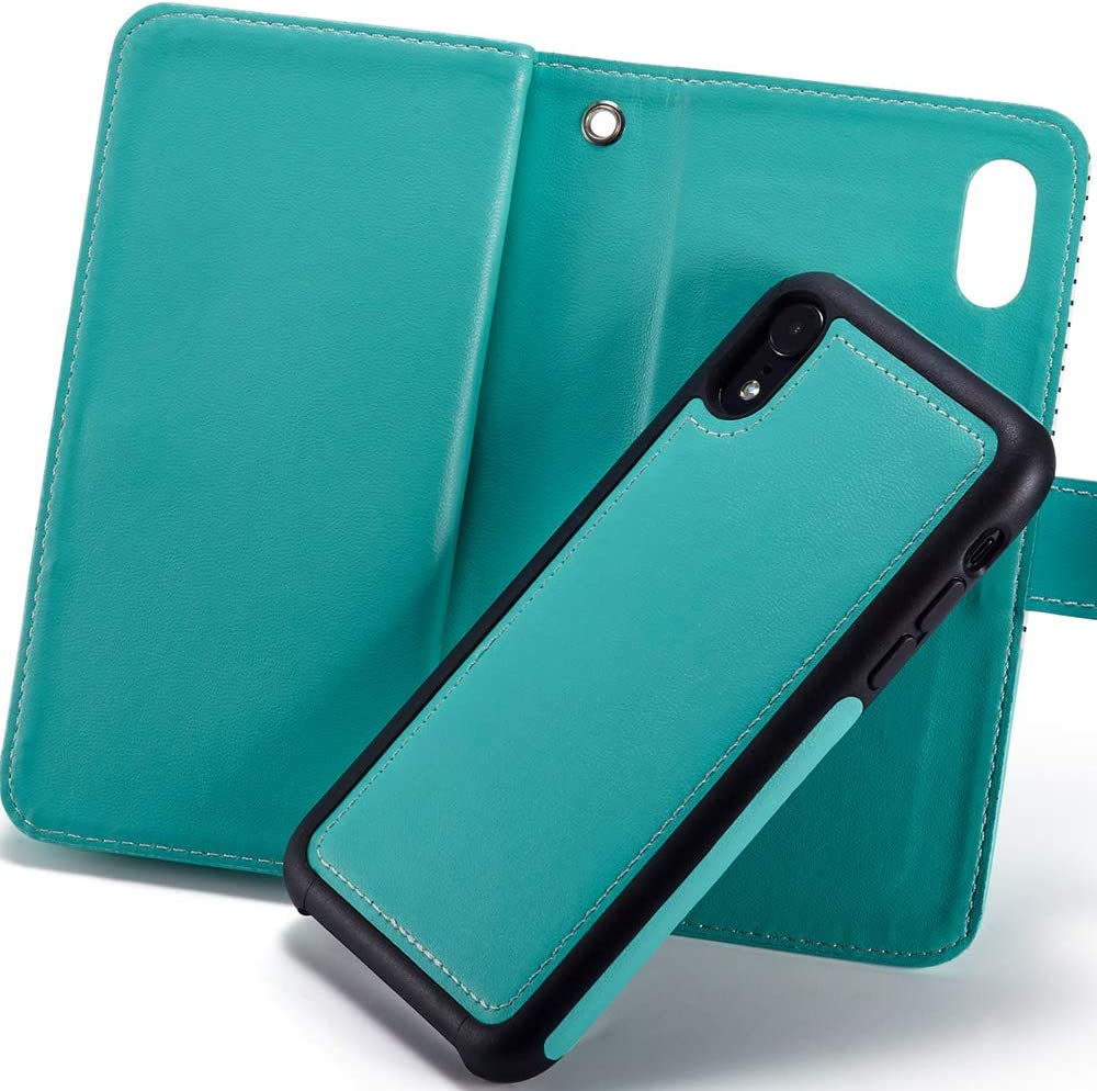 Detachable Magnetic Back Cover iPhone XR Phone Case for Men//Women//Girls Leather Wallet Type Flip Premium Credit Card Holder Case with Wrist Strap iPhone XR Case iPhone 10r Cases