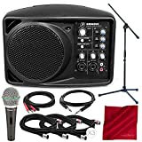 Mackie SRM150 5.25-Inch Compact Active PA System (Black) and Platinum Accessory Bundle with Dynamic Microphone + Mic Boom Stand + 5X Cables + Fibertique Cloth