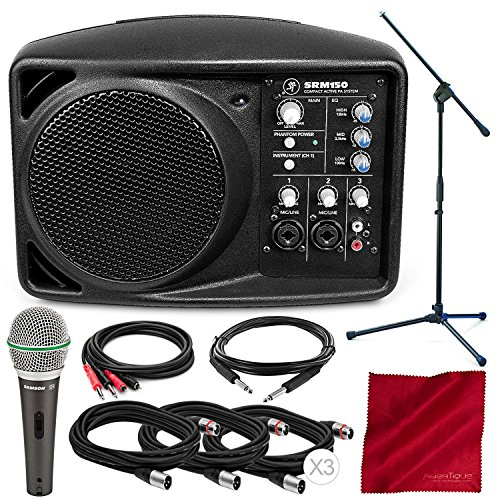 Mackie SRM150 5.25-Inch Compact Active PA System (Black) and Platinum Accessory Bundle with Dynamic Microphone + Mic Boom Stand + 5X Cables + Fibertique Cloth ()