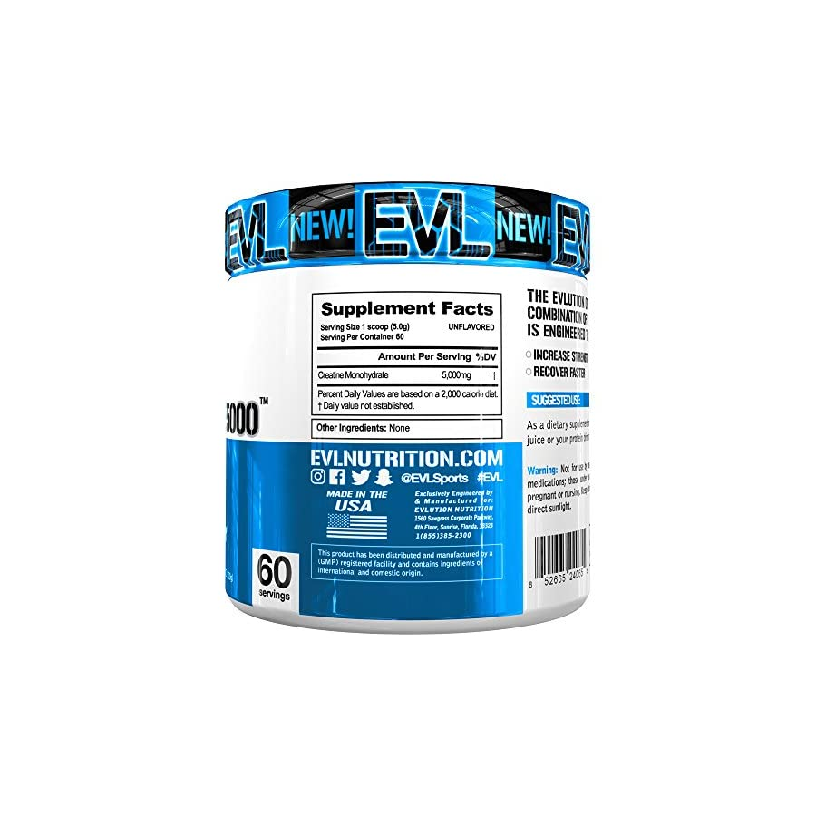 Evlution Nutrition Creatine5000 5 Grams of Pure Creatine Monohydrate in Each Serving Unflavored Powder (60 Servings)
