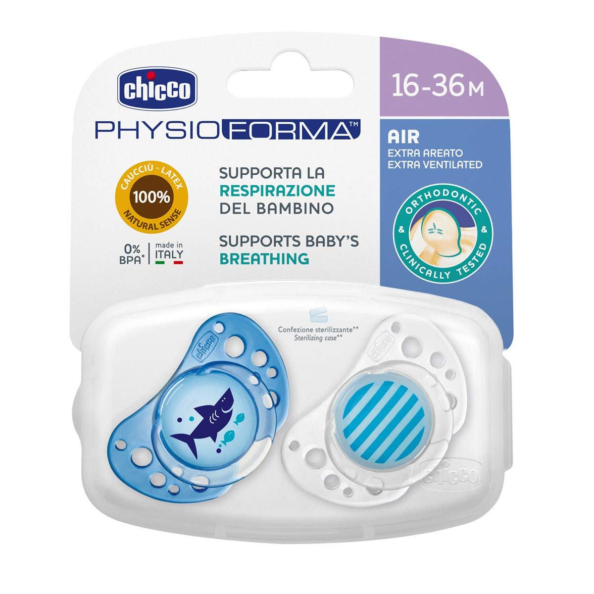Chicco Physio Air - Pack de 2 chupetes de látex/caucho para 16-36 meses, color azul