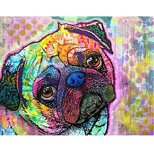 - Aphila Diamond Painting Kits for Adults Round Drills Full Resin Rhinestones Embroidery Cross Stitch Decor Gift Colourful Pug 30x40cm/12