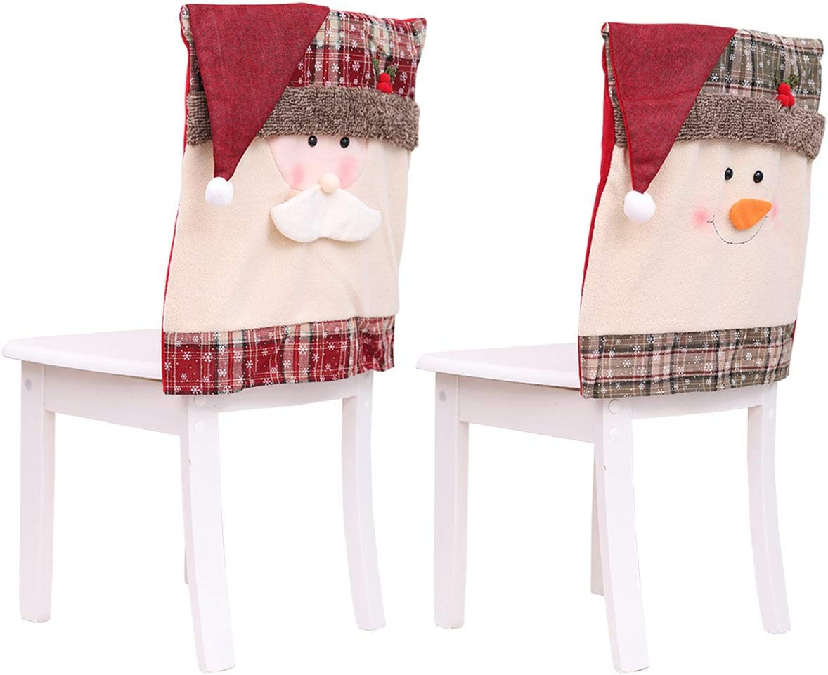 Details about  /Christmas Santa Claus Printed Chair Back Cover Home Dinning Room Party Decor