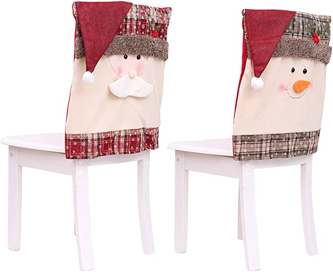 Christmas Chair Covers Dining Chair Covers Christmas Chair Back Cover Snowman Santa Claus Hat Slipcovers Decoration 2Pcs