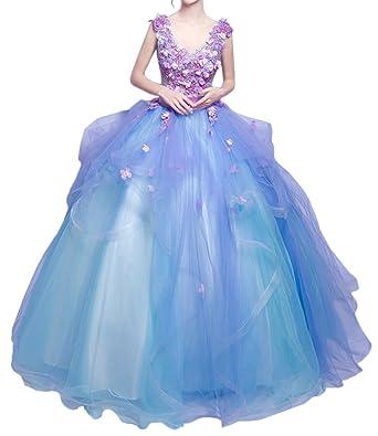 Promgirl House Damen Traumhaft Blumen Prinzessin Ballkleider Abendkleider  Festkleider Hochzeitskleider Lang-32 Lila Blau