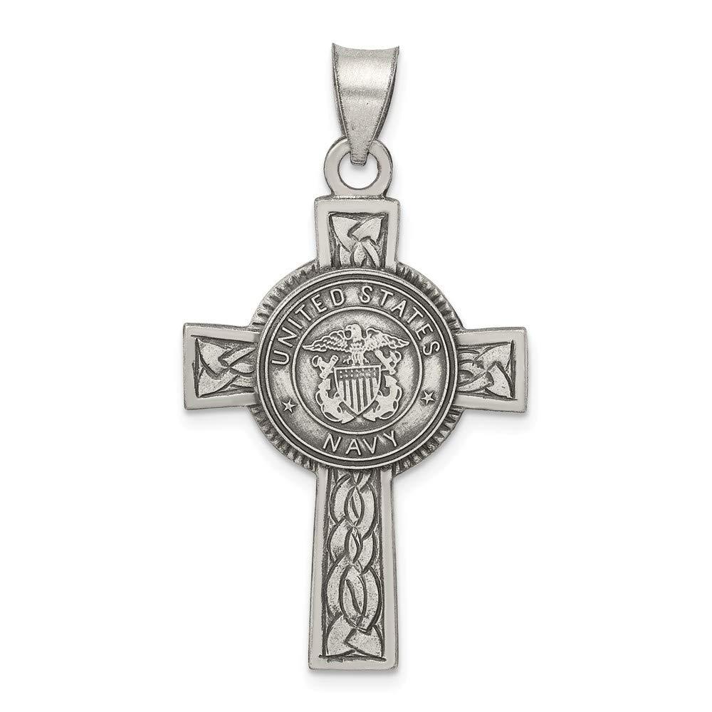 20mm x 38mm Jewel Tie 925 Sterling Silver US Navy Cross Pendant