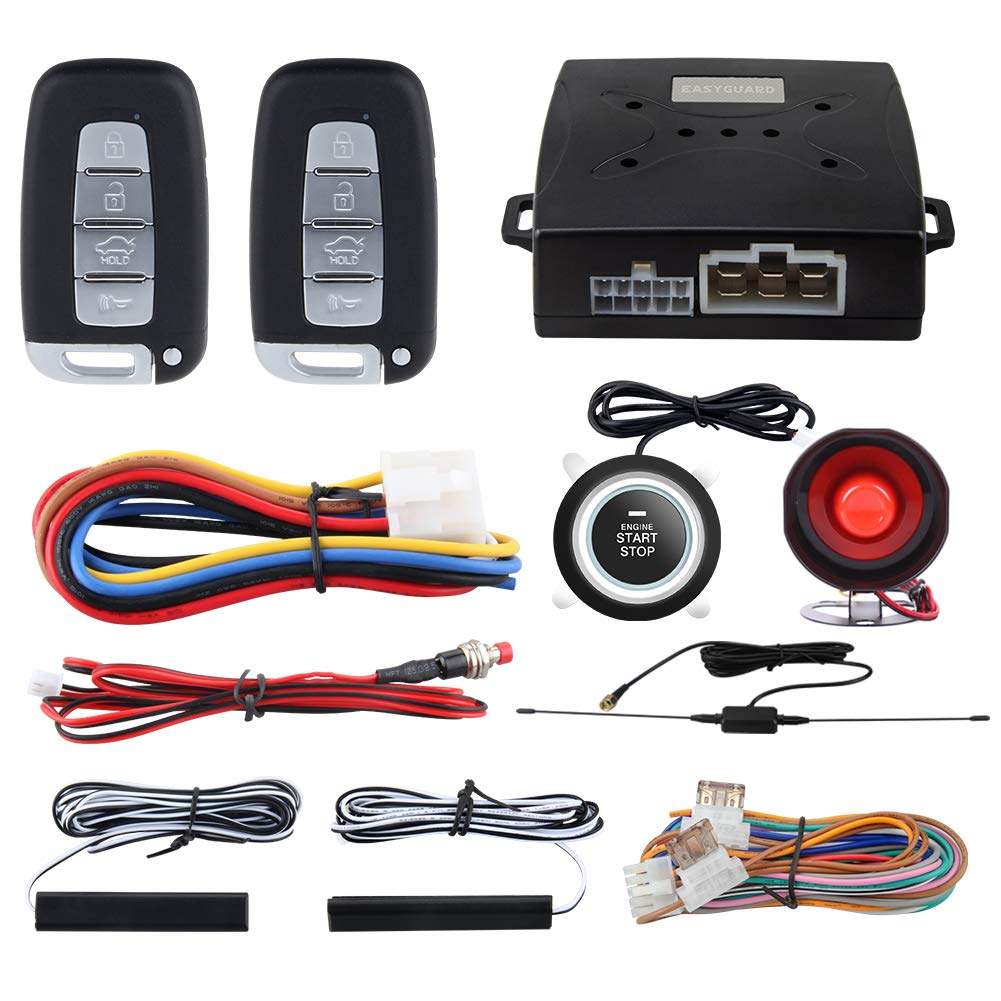 EASYGUARD EC003N-K Car Alarm System keyless Entry pke Remote Engine Start Stop Push Start Stop Automatically Lock or Unlock car Door Universal Version fits for Most dc12v Cars by EASYGUARD