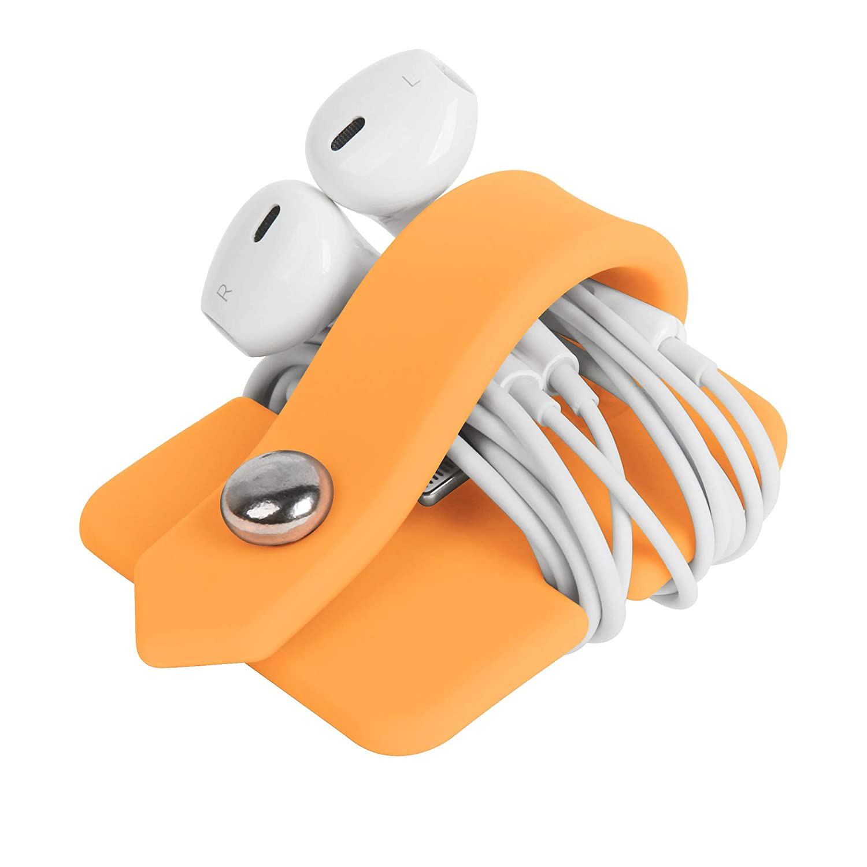 ELFRhino Silicone Earphone Organizer Earphone Wrap Winder Headphone Cord Organizer Wrap Winder Manager//Cable Winder Black, 1 Piece
