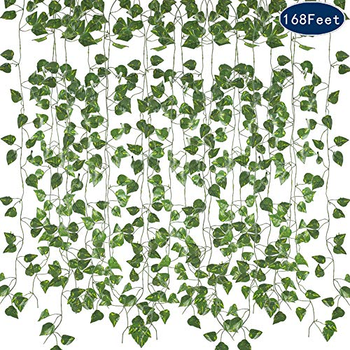 AILANDA Fake Hanging Plants, 24PCS 168Feet Artificial Vine Silk Ivy Vine Leaf Green Tropical Grape Garland Indoor Outdoor Home Wedding Jungle Party Celebration Wall Greenery Cover Jungle -